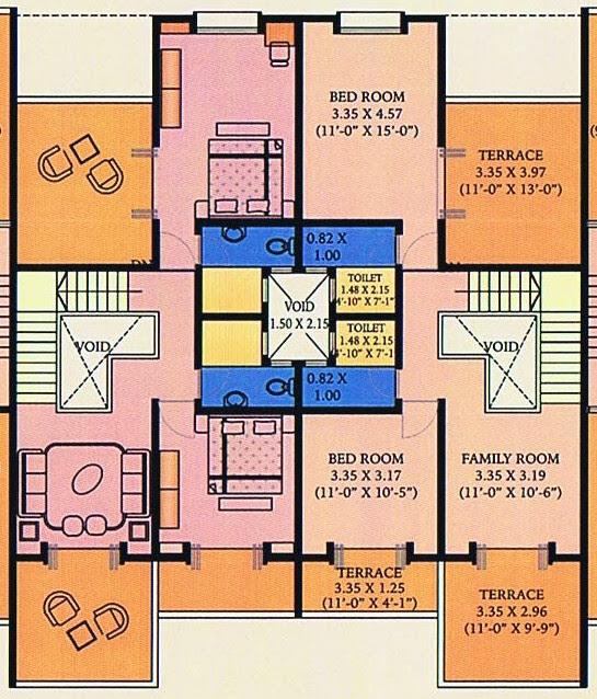 A J Serene Ram Indu Park Baner Pune - A3 & B3 Duplex - 2nd Floor - Family Room & 2 Bedrooms