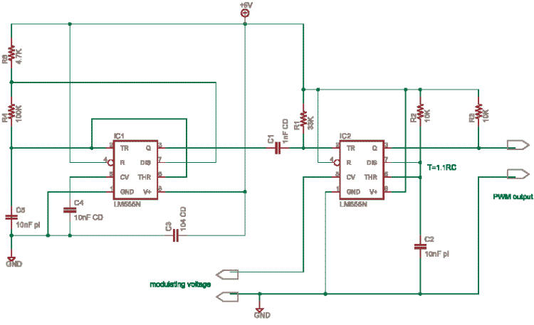 Pulse width modulation using 555