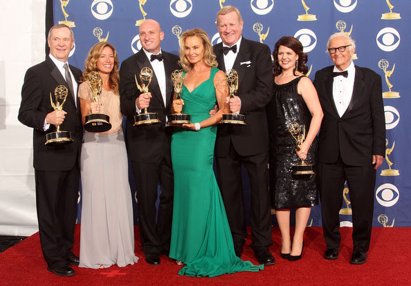 "Lucy Barzun Donnelly (L-R) Producers David Coatsworth and Rachael Horovitz, director Michael Sucsy, actors Jessica Lange and Ken Howard, producers Lucy Barzun Donnelly and Albert Maysles of ""Grey Gardens"" onstage at the 61st Primetime Emmy Awards held at the Nokia Theatre on September 20, 2009 in Los Angeles, California. pose in the press room at the 61st Primetime Emmy Awards held at the Nokia Theatre on September 20, 2009 in Los Angeles, California."