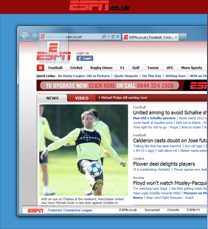 Espn Co Uk Ie9 From Microsoft Full On Sports