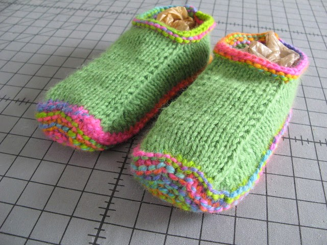Fluid Motion: knitting Guest Slippers #2