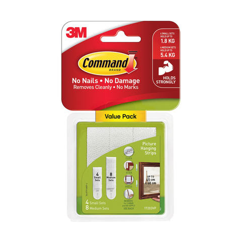 3m Command Picture Hanging Strips Pack Of 12 Kmart