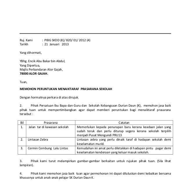 Contoh Surat Rasmi Permohonan Mengadakan Aktiviti - Rasmi Sub