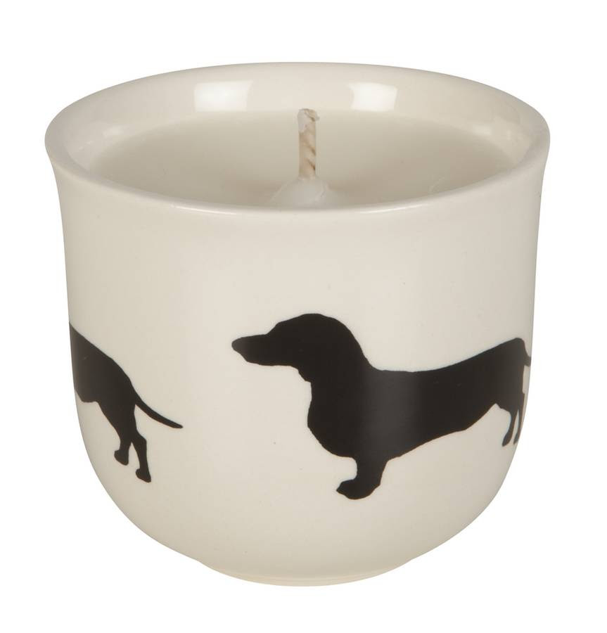 scented candles with silhouette dog breed designs by ...
