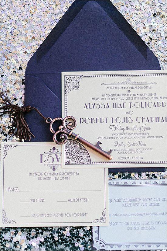navy und lila Great Gatsby Hochzeits-Einladung-suite, diese Farben sind nicht typisch, aber sehen toll aus