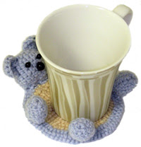 crochet bear-coaster