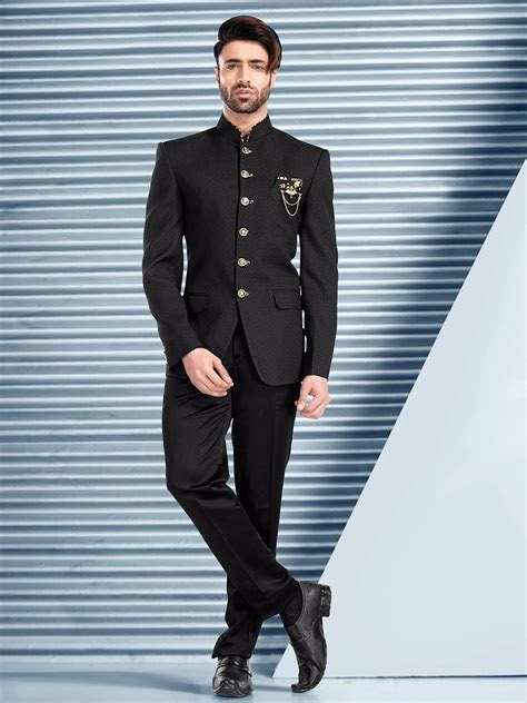 Printed Black Wedding Terry Rayon Jodhpuri Suit   Mens