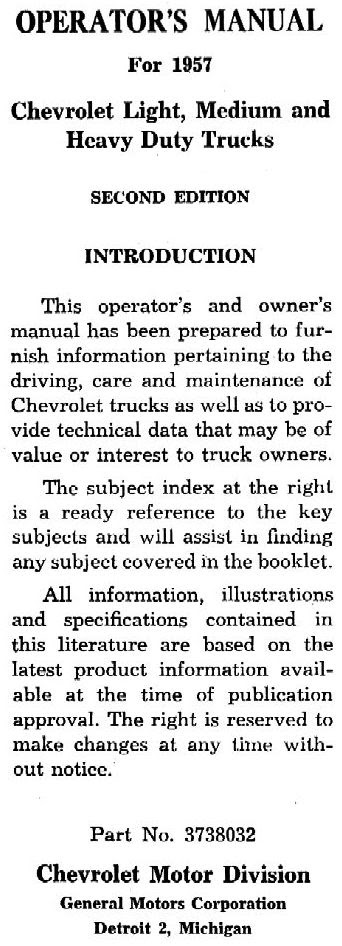 1957 Chevy Truck Owner S Manual