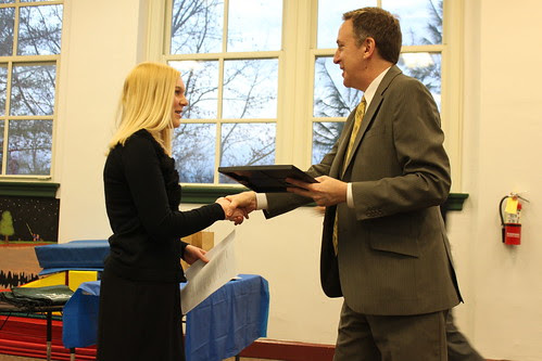 Katie receiving her 1st place award with Mayer Kruzan
