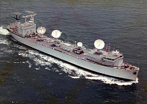 Vanguard (T-AGM-19) seen here as a NASA Skylab tracking ship. Note the SatCom tracking radar and telemetry antennas.