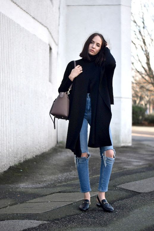 Le Fashion Blog Blogger Style Black Cape Turtleneck Celine Bag High Waist Distressed Denim Gucci Leather Horsebit Slingback Shoes Via Shot From The Street