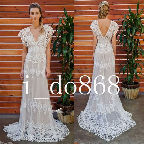vintage lace  neck wedding dresses bohemian dress summer