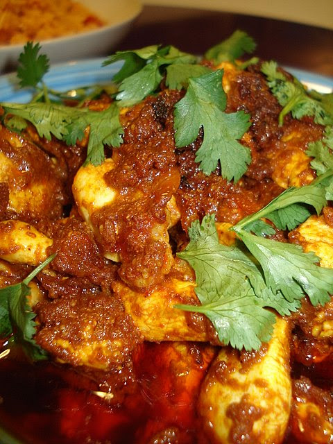 Extra hot cumin and tomato chicken curry