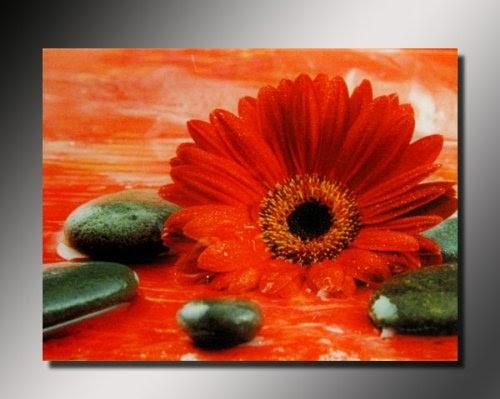 cadres tableau toile decorative zen galets fleur rouge peinture acrylique recouvert de. Black Bedroom Furniture Sets. Home Design Ideas