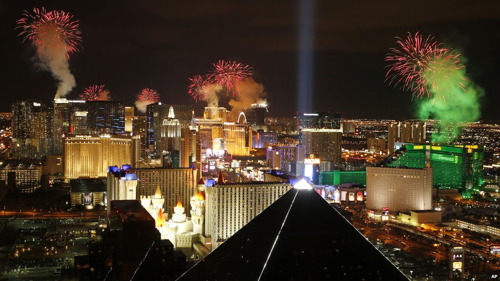Fireworks explode above the Strip to ring in the new year on 1 January 2015, in Las Vegas