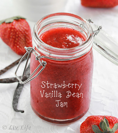 Strawberry Vanilla Bean Jam in a jar