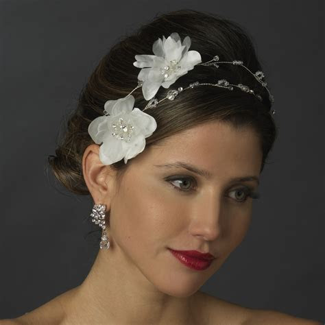 White Flower Bridal Headpiece White Wedding Flower