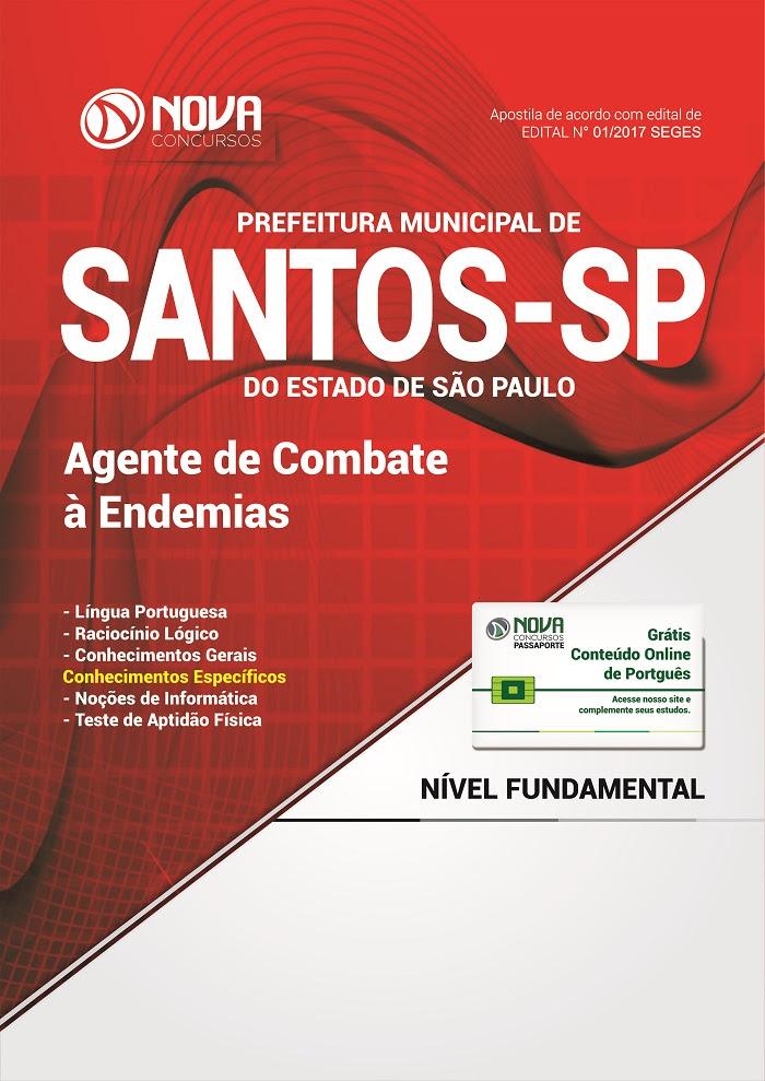 Apostila para concurso Prefeitura de Santos 2017 agente de combate às endemias.