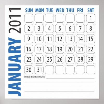 january calendars 2011. January Calendar 2011 in blue