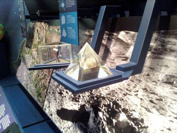 An actual Moon Rock on display...inside the exhibit room right next door to the von Kármán Auditorium.