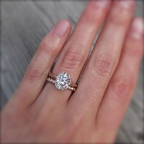 Oval Forever One? Moissanite Twig Engagement Ring, Carved