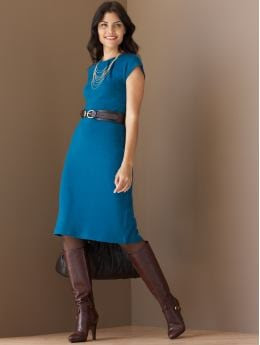 Petites: Petite cap-sleeve knit pleatneck dress - Artisan blue