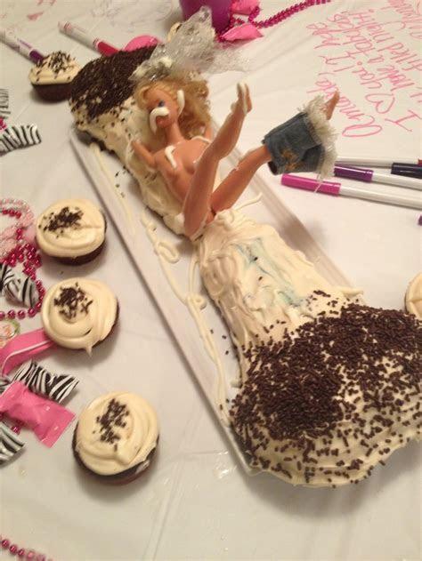 Bachelorette party cake:) hehe Man Barbie really takes the