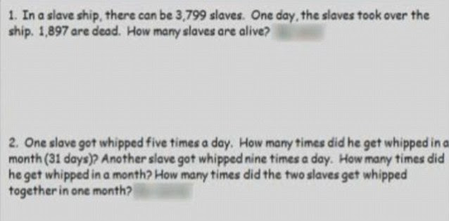 Controversy: The questions, pictured, were drawn up by a fourth grade class last month and were to be set to another class in the year group last week. A teaching assistant stopped them being assigned - outraged by their content