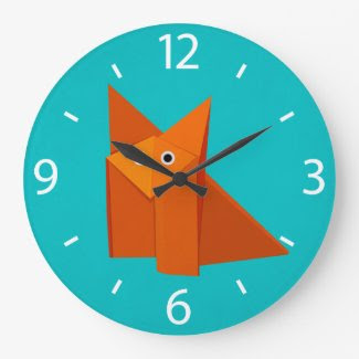 Colorful Cartoon Origami Fox Cute Large Clock