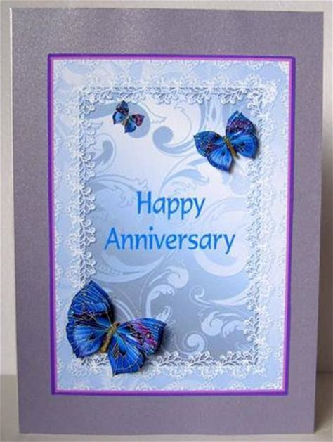 Happy Anniversary Blue Butterflies Decoupage   CUP281128