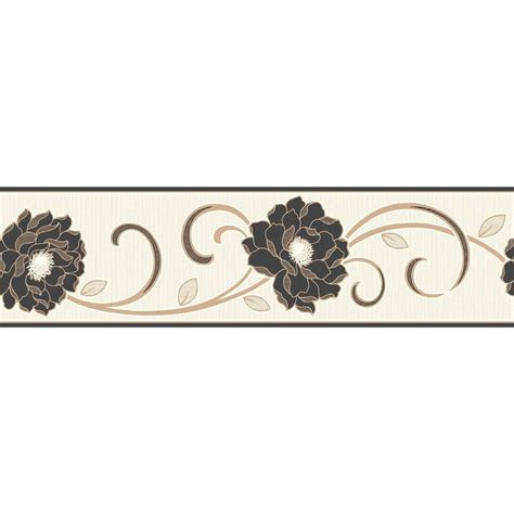 fine decor florentina wallpaper border cream black