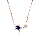 14k Rose Gold Blue Lapis Star And Diamond Pendant ? Long