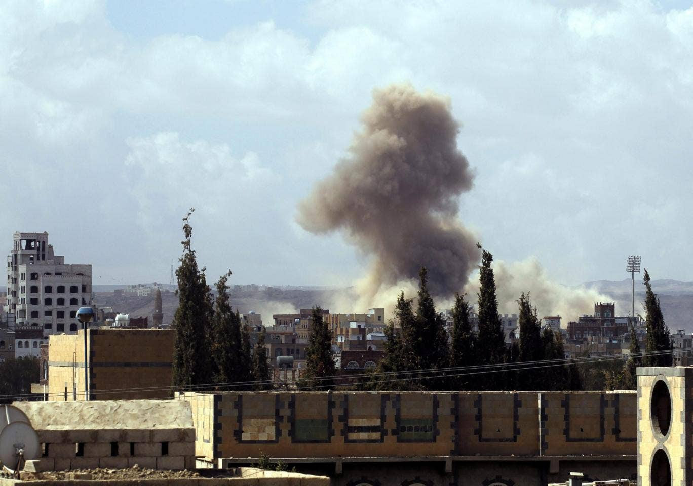 Smoke rises following airstrikes allegedly carried out by the Saudi-led alliance