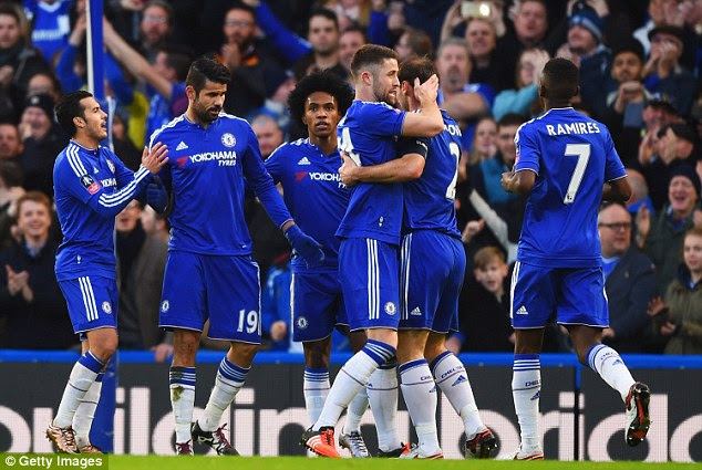 Costa (second, left) celebrates with his Blues team-mates following his opening strike at Stamford Bridge
