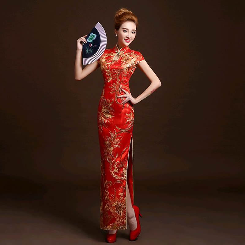 4 color fashion red lace bride wedding qipao long