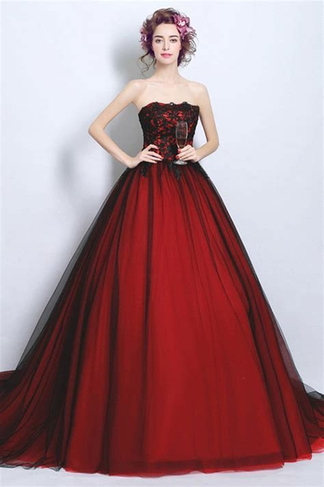 Ball Gown Strapless Tulle Lace Black And Red Gothic