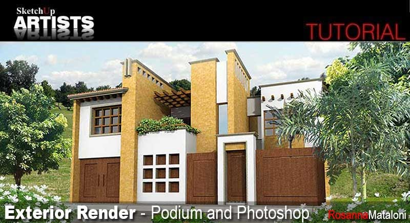 Exterior Render Sketchup Podium Photoshop V Ray For Sketchup And Material
