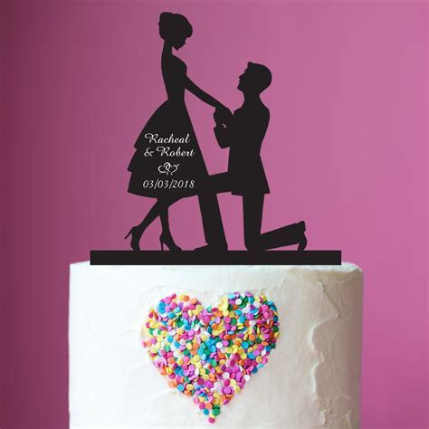 Proposal Silhouette Acrylic Cake Topper   Personalized Favors