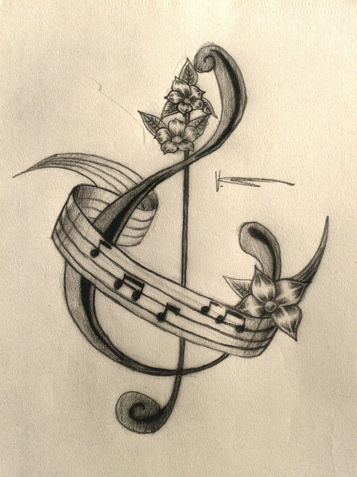 Piano Music And Flowers Tattoo Design
