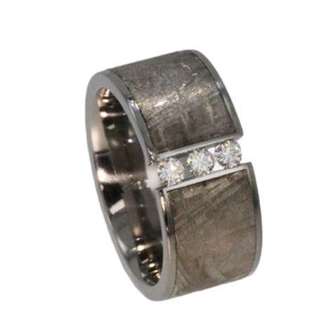 Meteorite Band, Mens Engagement Ring. Moissanite Stones