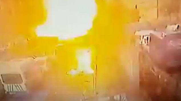 CCTV captured the moment a blast rocked the city of Izmir in western Turkey today