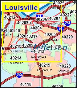 Zip Code Map Louisville Ky Louisville Kentucky Zip Code Map | Map Of Us Western States