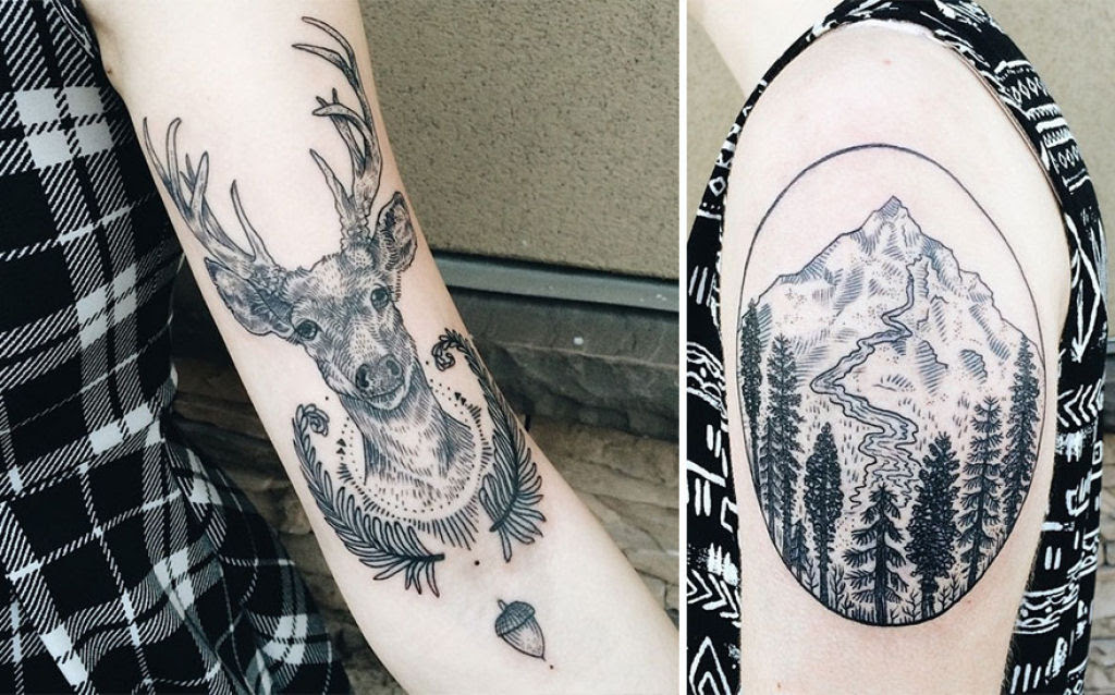 Tatuagens inspiradas na natureza combinam gravuras de estilo vintage de fauna e flora 09
