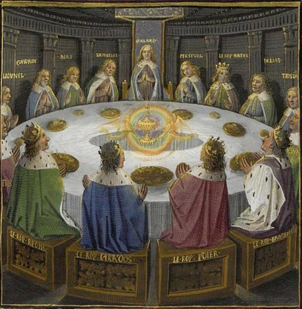King Arthur's knights, gathered at the Round Table, see a vision of the Holy Grail.