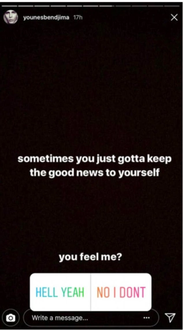 Secret message?Taking to Instagram, he posted a story saying: 'Sometimes you just gotta keep the good news to yourself!'