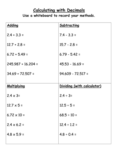 Decimals  Add, Subtract, Multiply, Divide by stericker  Teaching Resources  Tes