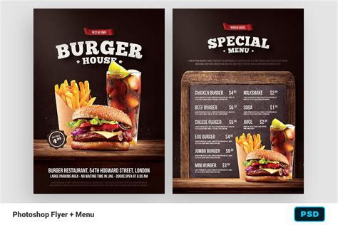 Burger Flyer   Menu ~ Flyer Templates ~ Creative Market