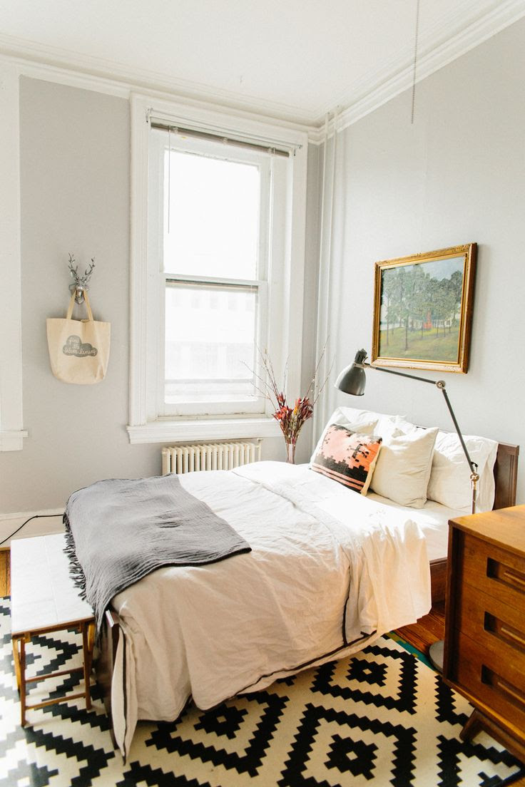 light Gray & white bedroom black and white rug, crisp, clean, simple, potential guest bedroom idea.