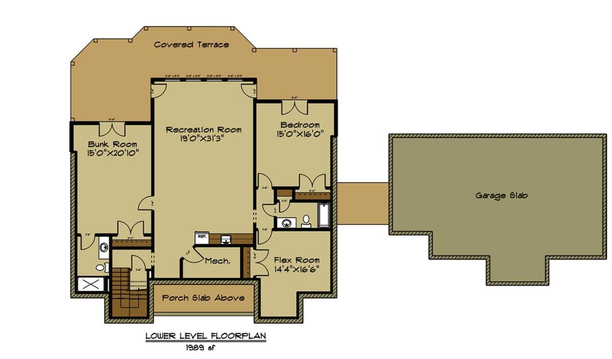 Open House Plan with 3 Car Garage Appalachia Mountain II - Floor Plans Trinity Custom Homes Georgia