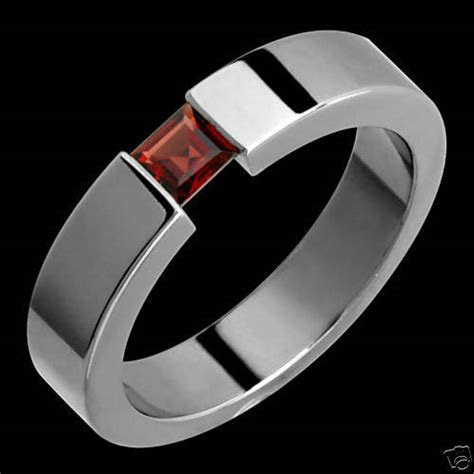 New 5mm Womens Mens Titanium Ring Garnet Ring Wedding Band